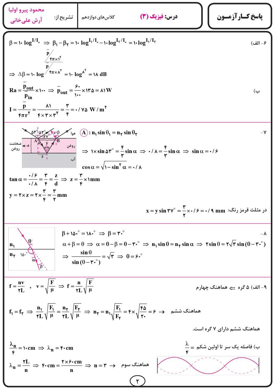 پاسخ کارآزمون فیزیک (۳) دوازدهم متوسطه انتشارات بنی هاشمی خامنه صفحه دوم